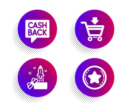 Online market, Innovation and Money transfer icons simple set. Halftone dots button. Loyalty star sign. Shopping cart, Crowdfunding, Cashback message. Bonus reward. Finance set. Vector