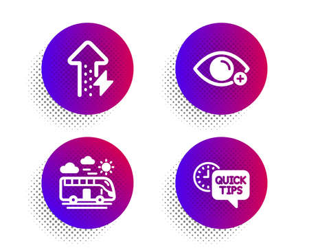 Farsightedness, Bus travel and Energy growing icons simple set. Halftone dots button. Quick tips sign. Eye vision, Transport, Power usage. Helpful tricks. Business set. Vector