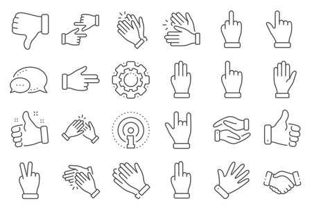 Hand gestures line icons. Handshake, Clapping hands, Victory. Horns, Thumb up finger, drag and drop icons. Donation hand gestures, middle finger, palm. Helping hand, ok sign. Line signs set. Vector