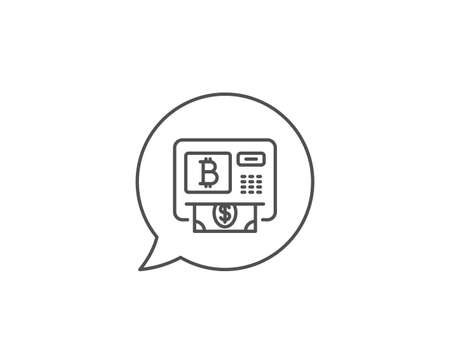 Bitcoin ATM line icon. Chat bubble design. Cryptocurrency cash sign. Dollar money symbol. Outline concept. Thin line bitcoin atm icon. Vector Иллюстрация