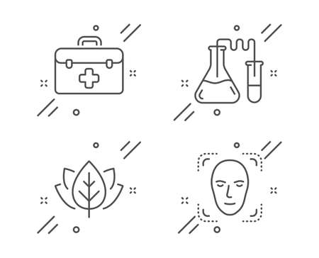 First aid, Chemistry lab and Organic tested line icons set. Face detection sign. Medicine kit, Medical laboratory, Bio ingredients. Detect person. Healthcare set. Line first aid outline icon. Vector