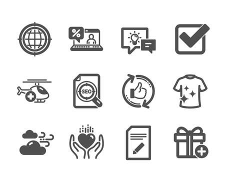 Set of Business icons, such as Edit document, Windy weather, Idea lamp, Checkbox, Seo internet, Medical helicopter, Clean t-shirt, Hold heart, Add gift, Seo file, Refresh like, Online loan. Vector