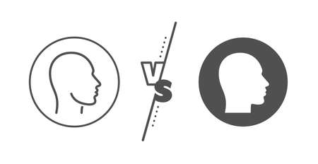 Human profile sign. Versus concept. Head line icon. Facial identification symbol. Line vs classic head icon. Vector