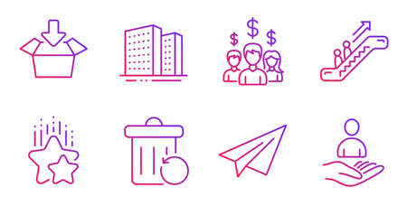 Ranking stars, Buildings and Salary employees line icons set. Escalator, Paper plane and Get box signs. Recovery trash, Recruitment symbols. Winner award, Town apartments. Business set. Vector