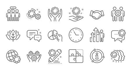 Employees benefits line icons. Business strategy, handshake and people collaboration. Teamwork, social responsibility, people relationship icons. Linear set. Quality line set. Vector Иллюстрация