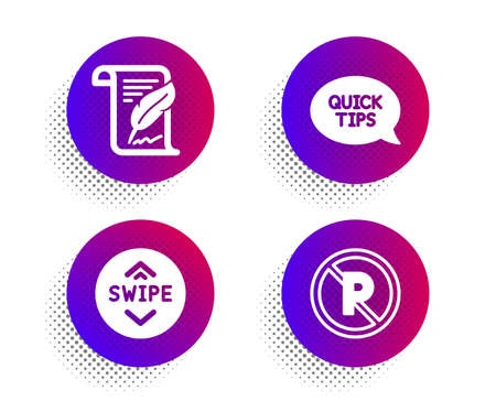 Feather, Swipe up and Quickstart guide icons simple set. Halftone dots button. No parking sign. Copyright page, Scroll screen, Helpful tricks. Car park. Business set. Classic flat feather icon. Vector