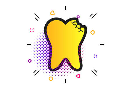 Broken tooth icon. Halftone dots pattern. Dental care sign symbol. Classic flat dental icon. Vector