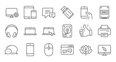Device line icons. Laptop, SSD and Headphones. Printer linear icon set. Quality line set. Vector Illustration