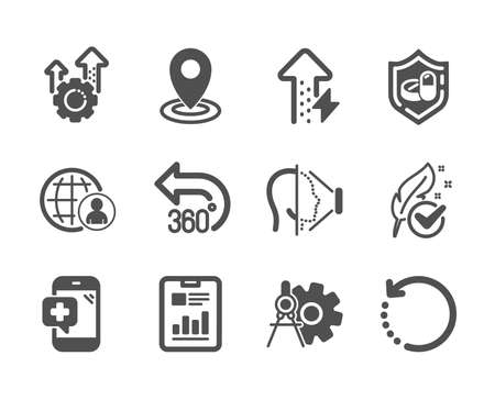 Set of Science icons, such as Location, Energy growing, International recruitment, Report document, 360 degrees, Hypoallergenic tested, Cogwheel dividers, Seo gear, Recovery data, Face id. Vector