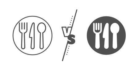 Cutlery sign. Versus concept. Food line icon. Fork, knife, spoon symbol. Line vs classic food icon. Vector