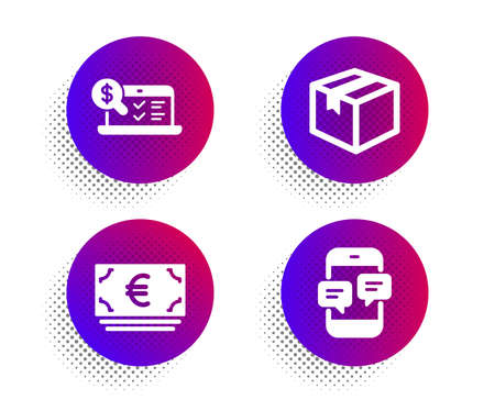 Parcel, Online accounting and Euro currency icons simple set. Halftone dots button. Phone messages sign. Shipping box, Web audit, Eur banking. Mobile chat. Business set. Vector Illustration