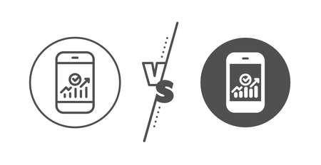 Business Analytics with charts symbol. Versus concept. Smartphone Audit or Statistics line icon. Line vs classic smartphone statistics icon. Vector Ilustrace