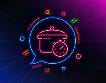 Boiling pan line icon. Neon laser lights. Cooking timer sign. Food preparation symbol. Glow laser speech bubble. Neon lights chat bubble. Banner badge with boiling pan icon. Vector