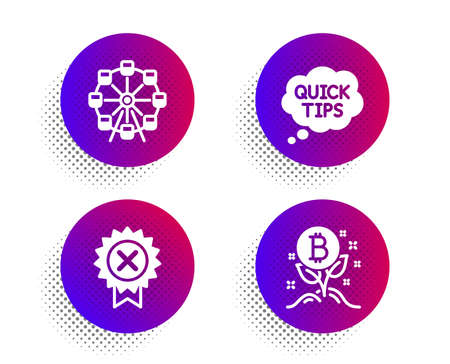 Quick tips, Ferris wheel and Reject medal icons simple set. Halftone dots button. Bitcoin project sign. Helpful tricks, Attraction park, Award rejection. Cryptocurrency startup. Business set. Vector