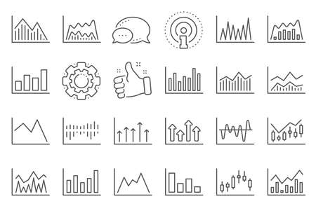 Financial chart line icons. Set of Candle stick graph, Report diagram and Infochart icons. Growth, Trade and Investment chart. Stock exchange, Candlestick and financial diagram graph. Vector Ilustracja