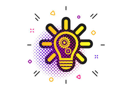 Light lamp sign icon. Halftone dots pattern. Bulb with gears and cogs symbol. Idea symbol. Classic flat light lamp icon. Vector