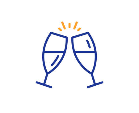 Romantic celebration sign. Champagne glasses line icon. Love chin-chin symbol. Colorful outline concept. Blue and orange thin line champagne glasses icon. Vector Ilustrace