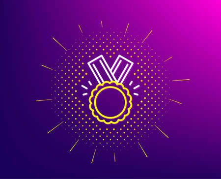 Award Medal line icon. Halftone pattern. Winner achievement symbol. Glory or Honor sign. Gradient background. Honor line icon. Yellow halftone pattern. Vector