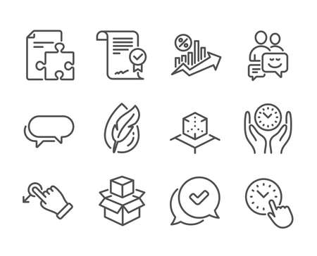 Set of Technology icons, such as Loan percent, Time management, Hypoallergenic tested, Approved, Drag drop, Strategy, Augmented reality, Packing boxes, Approved agreement, Messenger. Vector