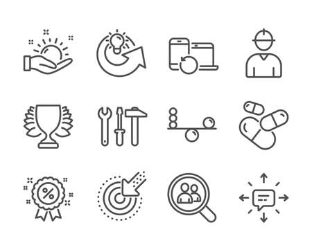 Set of Business icons, such as Spanner tool, Capsule pill, Discount, Balance, Recovery devices, Sunny weather, Search employees, Engineer, Winner, Targeting, Share idea, Sms line icons. Vector