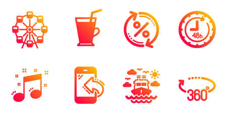 Coffee cup, Ship travel and Musical note line icons set. Loan percent, Incoming call and 48 hours signs. Ferris wheel, 360 degrees symbols. Latte drink, Cruise transport. Business set. Vector Illusztráció