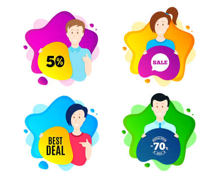 Best deal. People shape offer badge. Special offer Sale sign. Advertising Discounts symbol. Dynamic shape offer. Worker person badge. Cut out people coupon. Best deal text. Vector