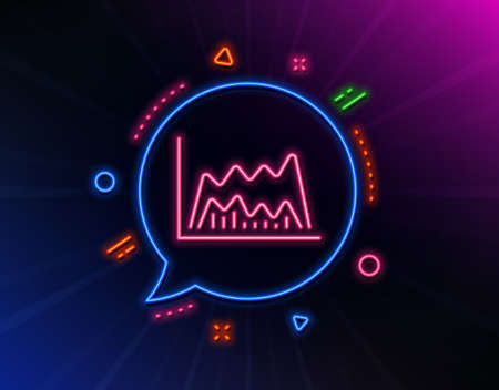 Investment chart line icon. Neon laser lights. Economic graph sign. Stock exchange symbol. Business finance. Glow laser speech bubble. Neon lights chat bubble. Vector