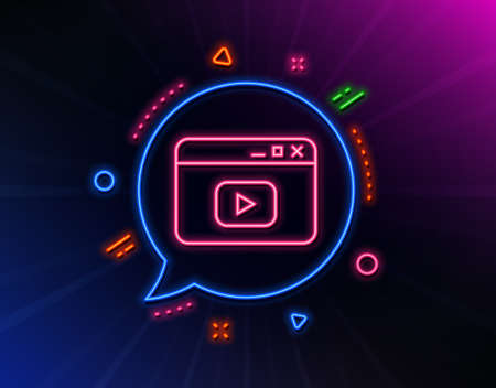 Browser Window line icon. Neon laser lights. Video content sign. Internet page symbol. Glow laser speech bubble. Neon lights chat bubble. Banner badge with video content icon. Vector