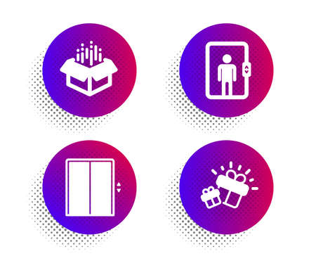 Lift, Elevator and Open box icons simple set. Halftone dots button. Gift sign. Elevator, Office transportation, Delivery package. Marketing box. Transportation set. Classic flat lift icon. Vector