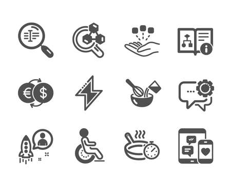 Set of Business icons, such as Consolidation, Employees messenger, Technical algorithm, Frying pan, Startup, Search text, Cooking whisk, Disability, Money exchange, Social media, Energy. Vector
