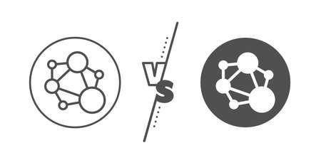 Social network sign. Versus concept. Integrity line icon. Core value symbol. Line vs classic integrity icon. Vector 向量圖像