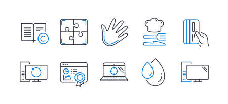 Set of Business icons, such as Payment card, Recovery computer, Food, Oil drop, Hand, Seo certificate, Copyright, Puzzle, Seo laptop, Computer line icons. Credit card, Backup info. Vector Foto de archivo - 129173461