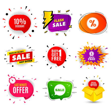 10% Discount. Banner badge, flash sale bubble. Sale offer price sign. Special offer symbol. Last minute offer. Sticker badge, comic bubble. Discounts box. Vector