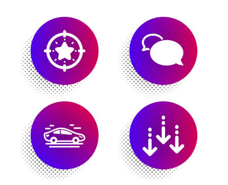 Car, Messenger and Star target icons simple set. Halftone dots button. Scroll down sign. Transport, Speech bubble, Winner award. Swipe screen. Business set. Classic flat car icon. Vector