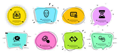 360 degree, Time and Smile line icons set. Chat bubbles with quotes. Sync, Graph chart and Text message signs. Face biometrics, Certificate symbols. Virtual reality, Clock. Technology set. Vector 일러스트