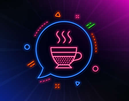 Cafe creme icon. Neon laser lights. Hot drink sign. Beverage symbol. Glow laser speech bubble. Neon lights chat bubble. Banner badge with cafe creme icon. Vector