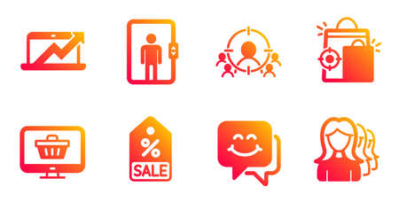 Business targeting, Web shop and Sale coupon line icons set. Seo shopping, Smile face and Sales diagram signs. Elevator, Women headhunting symbols. People and target aim, Shopping cart. Vector