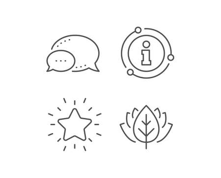 Rank star line icon. Chat bubble, info sign elements. Success reward symbol. Best result sign. Linear rank star outline icon. Information bubble. Vector Ilustrace