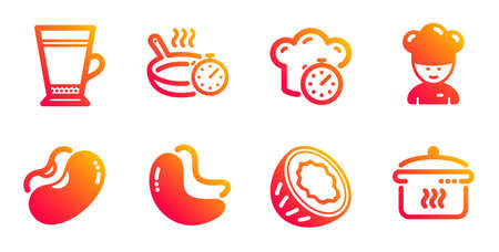 Latte, Frying pan and Beans line icons set. Cooking timer, Cashew nut and Coconut signs. Cooking chef, Boiling pan symbols. Coffee beverage, Vegetarian seed. Food and drink set. Vector