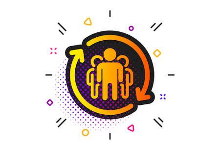 Employees rotation sign. Halftone circles pattern. Teamwork icon. Core value symbol. Classic flat teamwork icon. Vector Illusztráció