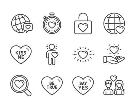 Set of Love icons, such as Be true, Friend, Heartbeat timer, Couple love, Heart, World brand, Say yes, International love, Kiss me, Hold heart, Wedding locker line icons. Be true icon. Vector Stock Vector - 129173487
