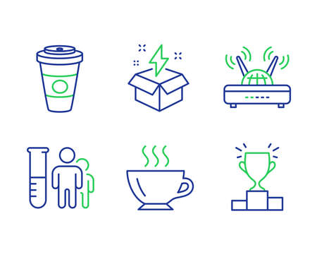 Takeaway coffee, Creative idea and Medical analyzes line icons set. Coffee, Wifi and Winner podium signs. Hot latte drink, Lightning, Medicine results. Cappuccino. Business set. Vector