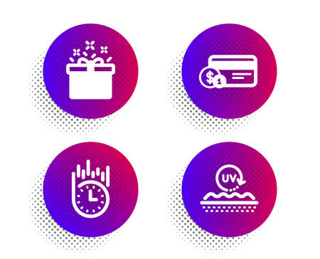 Special offer, Payment method and Fast delivery icons simple set. Halftone dots button. Uv protection sign. Delivery box, Cash or non-cash payment, Stopwatch. Skin cream. Business set. Vector