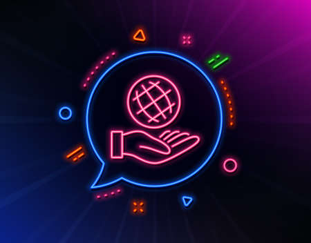 Safe planet line icon. Neon laser lights. World sign. Ecology symbol. Glow laser speech bubble. Neon lights chat bubble. Banner badge with safe planet icon. Vector Ilustrace