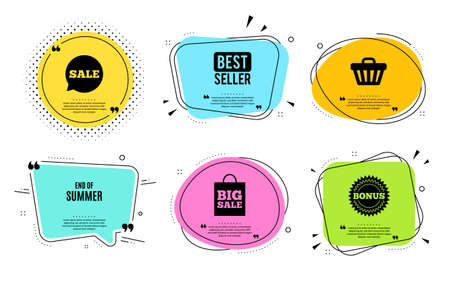 End of Summer Sale. Best seller, quote text. Special offer price sign. Advertising Discounts symbol. Quotation bubble. Banner badge, texting quote boxes. End summer text. Coupon offer. Vector