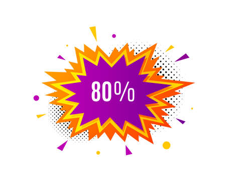 80% off Sale. Banner badge, offer sticker. Discount offer price sign. Special offer symbol. Discount banner. Sticker badge. Vector