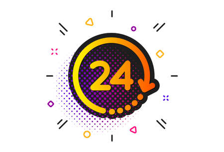 Clock sign. Halftone circles pattern. 24 hours time icon. Watch symbol. Classic flat 24 hours icon. Vector