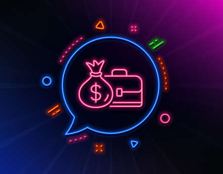 Business case line icon. Neon laser lights. Portfolio and Salary symbol. Diplomat with Money bag sign. Glow laser speech bubble. Neon lights chat bubble. Banner badge with salary icon. Vector Ilustrace
