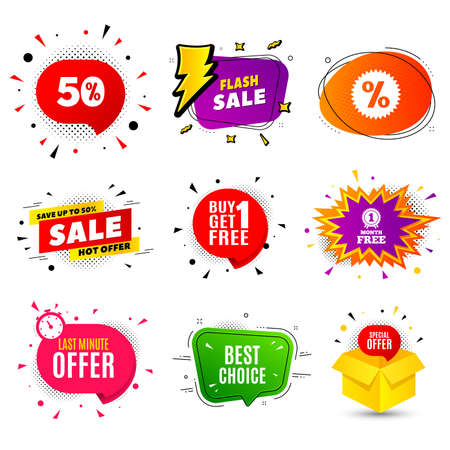 Best choice. Banner badge, flash sale bubble. Special offer Sale sign. Advertising Discounts symbol. Last minute offer. Sticker badge, comic bubble. Discounts box. Vector