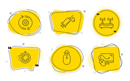Medical syringe, Seo timer and Computer mouse signs. Chat bubbles. Swipe up, Cogwheel and Wifi line icons set. Scrolling page, Engineering tool, Internet router. Vaccination. Science set. Vector Stock Illustratie